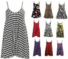 Womens Camisole Cami Flared Skater Strappy Vest Top Swing Mini Dress Size 8-26
