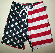NWT FADED GLORY AMERICAN FLAG FOURTH OF JULY SWIM TRUNK BOARD SHORTS sz S M L XL