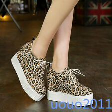 Chic Wedge High Heel Faux Suede Leopard Lace Up Platform Casual Womens Shoes SZ
