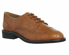 Womens Office Delta Brogue TAN LEATHER Flats