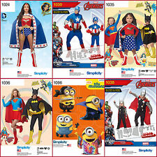 Simplicity Sewing Pattern Super Hero Halloween Costume BatGirl Super +  U Pick