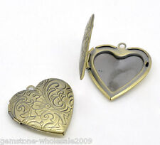 Wholesale Lots Bronze Tone Photo Frame Setting Heart Locket Pendants