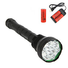TrustFire 13800Lm 12x CREE XML T6 LED Flashlight Torch Camping 3x 26650+Charger