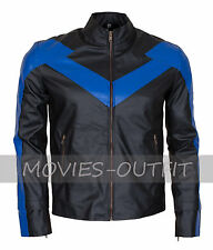 Nightwing Dick Grayson Mens Fashion Gaming Biker Leather Jacket - HOT SALE