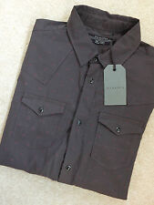 "ALL SAINTS WASHED BLACK ""RUSH"" LONG SLEEVE PATTERNED SHIRT TOP - SMALL NEW TAGS"