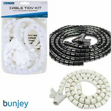 2M White or Black Cable Tidy Wire Organizing Kit, Spiral Wrap PC TV HOME OFFICE
