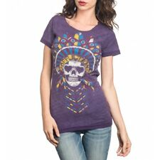 Affliction Womens Ac Kemosabe Live Fast Cut-out Reversible T-shirt Purple AW9913