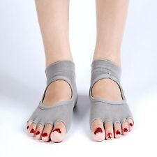 1 Pair Gray Woman's Half-Toe Yoga Socks for Dance Pilates Barre Non-Slip Socks