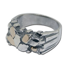 Ring two tone silver gold 14k yellow chips size 6 - 9