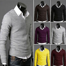 Mens Luxury V-neck Slim Fit Long Sleeve Knit Cardigan Pullover Jumper Sweater