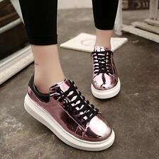 Fashion Women Glitter Lace UP Low Top Sneakers Flat Platform athletic Shoes