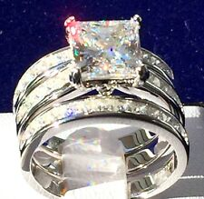 3pc Bridal Set 925 Sterlin Silver Princess cut Simulated Diamond Engagement Ring