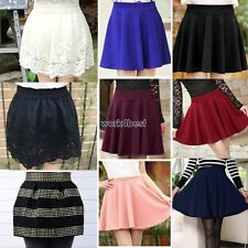 New Women Candy Color Stretch Waist Plain Skater Flared Pleated Mini Skirt WST