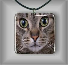 CAT GREY TIGER FACE PENDANTS NECKLACE  -lkj9Z
