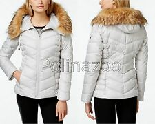 GUESS Jacket Faux Fur Trim Winter Hooded Puffer Coat Pearl Gray 2017 $199 OBO