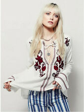 Ethnic Contrast Flower Embroidery Shirt Women Strappy neck Pullover Blouse Tops