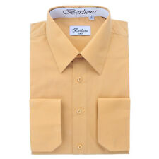 BERLIONI MEN'S CONVERTIBLE CUFF SOLID ITALIAN FRENCH DRESS SHIRT KHAKI