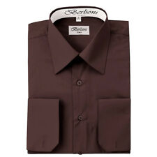 BERLIONI MEN'S CONVERTIBLE CUFF SOLID ITALIAN FRENCH DRESS SHIRT BROWN