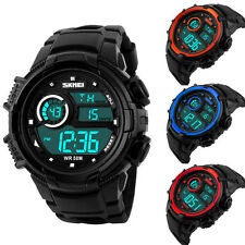 Luxury Mens LED Digital Sports Army Watch Waterproof Rubber Date Alarm Wrist Man