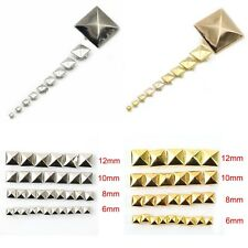 100/pcs Pyramid Studs Rivets Spots Spikes Gold/Silver 6mm-12mm Punk DIY