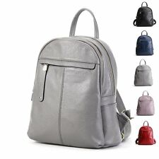 Fashion Solid Leather Backpack Women Outdoor Travel Shoulders Bags Rucksack