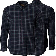 Gabicci Mens Navy Shirt Check Button Down Collared Long Sleeve Casual Cotton Top