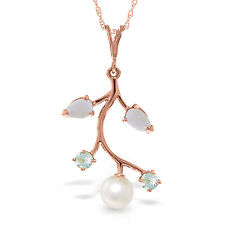 "14K Solid Rose gold fine Necklace 16-24"" w Opals Aquamarines & pearl"