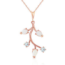 "14K Solid Rose gold fine Necklace 16-24"" w Opals & Aquamarines"