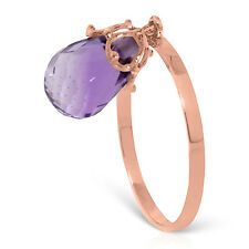 Brand New 3 CTW 14K   Rose Gold Ring Dangling Briolette Purple Amethyst