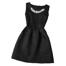 5X(Autumn Women's Black Temperament Sleeveless Applique Slim Princess Dress) L3