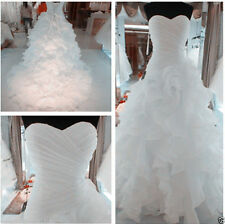 White/Ivory A-LINE Organza Wedding Dress Bridal Gown Stock Sz 6 8 10 12 14 16 18