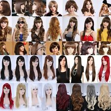 Charming Synthetic Wigs Curly Wave Straight Black Brown Blonde White Full Wig AT