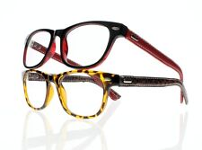 Women Tortoise Red Reading Glasses Temple Simulated Leather Readers +1.00~+4.00