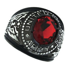 Ruby Red Stone US Army Military Tutone Black Plated Mens Ring