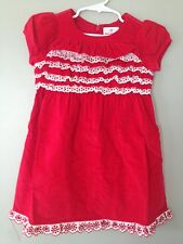 Hanna Andersson Red Dress Cordoroy Eyelet Ruffle Dress 3/5 4/6 New