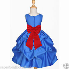 ROYAL BLUE WEDDING BRIDESMAID INFANT TODDLER PAGEANT DANCING FLOWER GIRL DRESS