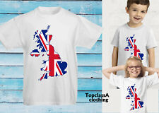 United Kingdom Map Great Britain British Union Jack Flag GB Team Kids T shirt