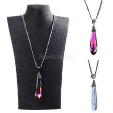 Women Rhinestone Water Drop Pendant Necklace Long Sweater Chain Party Jewelry