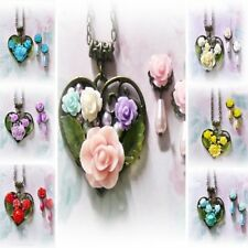 Necklace earring set, Rose Garden collage mosaic bronzed heart,  clip on pierced