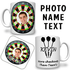 Dart Board PHOTO Printed Mug & Coaster NAME TEXT Personalised FREE DELIVERY