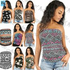 New Womens Ladies Floral Printed Side Ruched Cropped Boobtube Top Plus Size