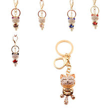 New Rhinestone Cat Keychain Charm Pendent Crystal Purse Key Chain Gift 6 Colors