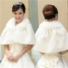 New White Ivory Faux Fur Bridal Wedding Jacket Wrap Shrug Bolero Coat Shawl Cape