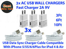 3x 3Ft Usb Data Chargin Cables +3x Wall Chargers Compatible With iPhone 5/6/7+