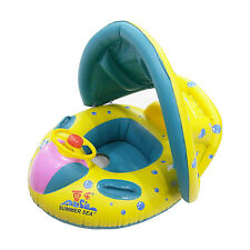 Kid Baby Infaltable Float Swimming Boat Raft w/ Cover handle Pool Beach or Pump