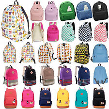 Womens Emoji Canvas Travel Bags Satchel Backpack Rucksack Shoulder Schoolbag New