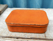 Charming Vintage Tobacco Tin Hand Stitched Imitation Leather Cover Worn & Shaby