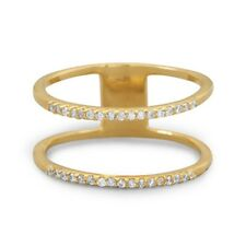 Two-row Stacking Band Ring with Cubic Zirconia 18k Gold-plated Sterling Silver
