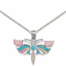 Multicolor Synthetic Opal Butterfly Necklace Rhodium on Sterling Silver