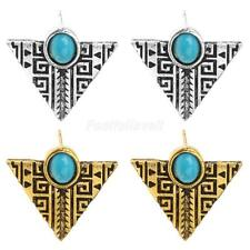Gold/Silver Triangle Earrings Vintage Blue Turquoise Triangle Stud Earrings